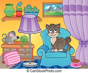Room with cat on armchair