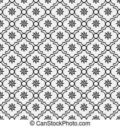 Black and White Eight Pointed Pinwheel Star Symbol Tile...