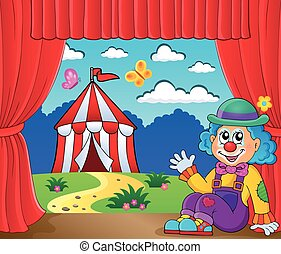 Sitting clown theme image 6 - eps10 vector illustration