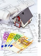 house plan with euro notes - a blueprint of an architect...