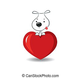 A funny dog on the red heart