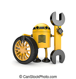 Robot worker with spanner - New technology metaphor....