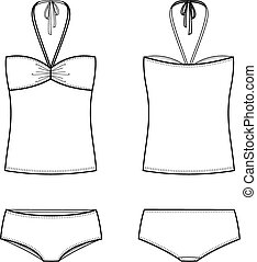 Swimsuit - Vector illustration of womens swimsuit Front and...