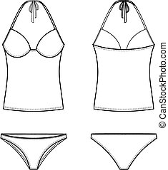 Swimsuit - Vector illustration of swimsuit Front and back...