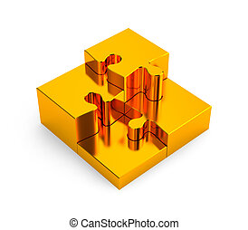 Gold puzzles Image contain clipping path - Conceptual...