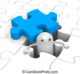 Robot find the necessary puzzle - Success metaphor. Isolated...