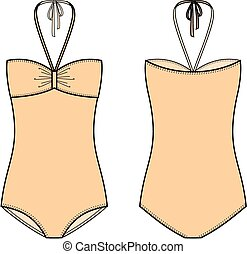 Swimsuit - Vector illustration of women's swimsuit. Front...