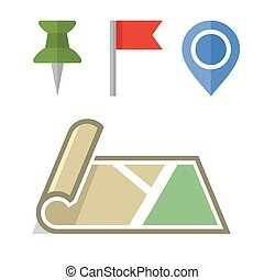 Map Icon with Different Pins Set. Vector