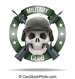 Military club or company badges and labels logo. Skull and...