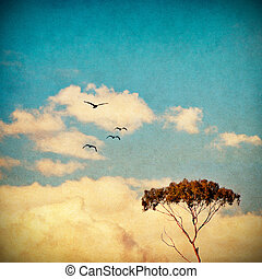 Dreamy Sky and Tree - A eucalyptus tree done in a vintage...