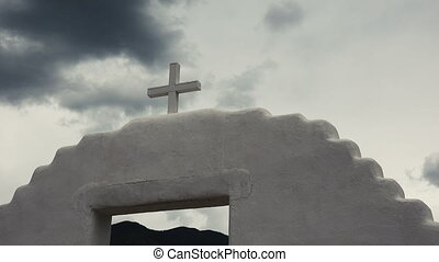 Timelapse Spanish Mission Church - A time lapse of a cross...