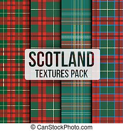 Set of tartan fabric texture pattern seamless. Traditional...