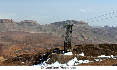 Cablecar or funicular moving down by cableway in Teide...
