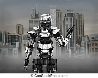 Futuristic robot soldier with city background.