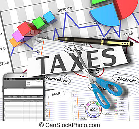 Income tax as a concept in the background graphs
