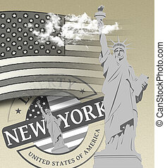 New York City and the Statue of Liberty - Travel advertising...