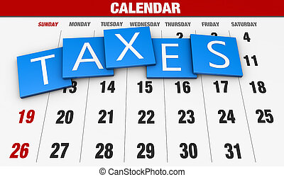 Income tax as a concept in the background calendar