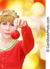 Merry Christmas with woman and red bauble