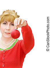 Merry Christmas - woman giving red bauble