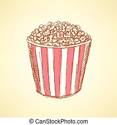 Sketch pop corn in vintage style, vector
