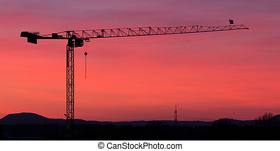 Tower crane silhouette - Wide angle shot of the silhouette...