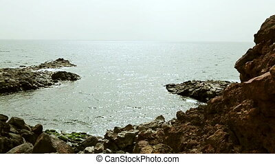Wild stone and rock ocean shore - Panoramic view of wild...