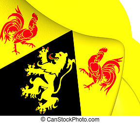 Flag of Walloon Brabant, Belgium. Close Up.