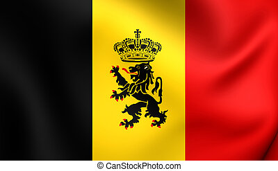 Government Ensign of Belgium. Close Up.