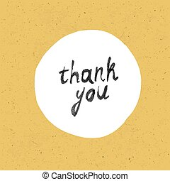 "Vintage poster with hand-drawn lettering ""thank you"". On paper texture"
