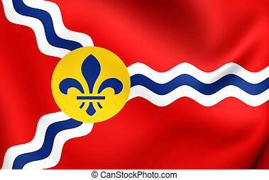 Flag of St. Louis, USA. Close Up.