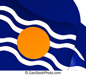 Flag of West Indies Federation (1958-1962). Close Up.