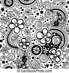 vector seamless black and white floral pattern - vector...