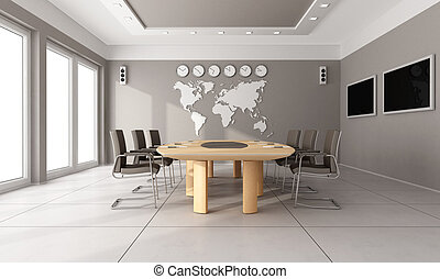 Contemporary board room with wooden table,brown hair and...