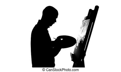 Talanted painter continues drawing a painting by oil paints...