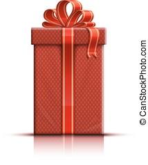 Red giftbox with ribbon - Gift box, ribbon and bow. Vector...