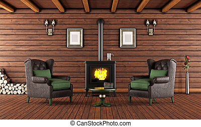 Wooden house with cast iron fireplace - Living room of a...