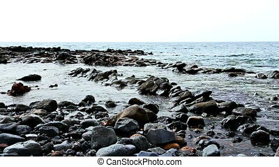 Wild stone and rock ocean shore - Wild stone shore or coast...