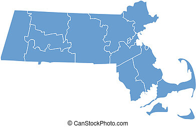 Massachusetts map by county