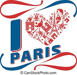 I love Paris. French banner or poster, Mona Lisa, Arc...