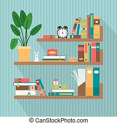 Vector books on bookshelves. Library and literature,...