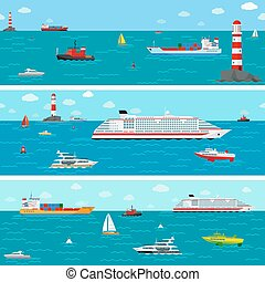 Vector seamless horizontal sea background with ship icons