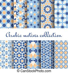Islamic backgrounds. Arabic seamless pattern set, design...