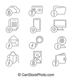 Business network security and data protection line art icons...