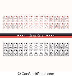 1 - A set of playing cards drawn outline two colors on a...
