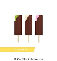 Ice_Cream_Popsicle - Set of ice cream popsicle dipped in...