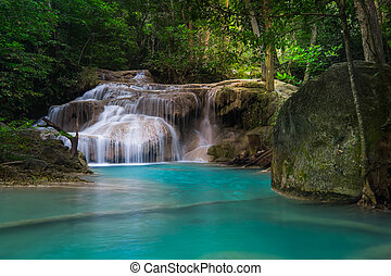 Jangle landscape with Erawan waterfall. Kanchanaburi,...