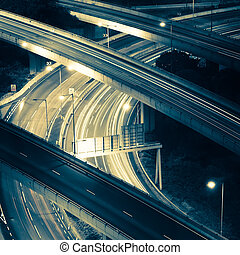 Abstract night view of highway interchange Hong Kong city in...