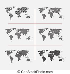 Set of striped world maps in different resolution - Set of...