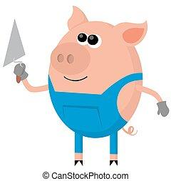 albañil, cerdo