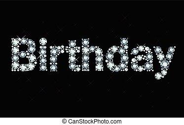Diamond word birthday - Word birthday made of diamonds